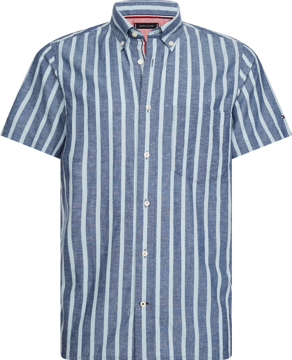 Tommy Hilfiger SLIM BOLD CO/LI STRIPE SHIRT S/S